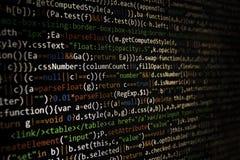 Pantalla programada del código del desarrollador de software Ordenador fotos de archivo libres de regalías