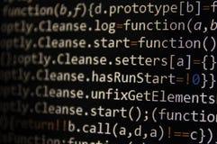 Pantalla programada del código del desarrollador de software Ordenador imagen de archivo
