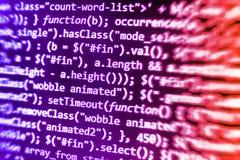 Pantalla programada del código fuente de la codificación Imagen de archivo