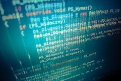 Pantalla programada del código fuente de la codificación Fotografía de archivo libre de regalías