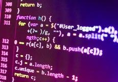 Pantalla programada del código fuente de la codificación Imagen de archivo libre de regalías