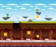 Pantalla subterráneo de la historieta del piso del juego electrónico stock de ilustración