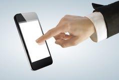 Pantalla táctil de la empresaria joven en el teléfono elegante digital Imagen de archivo libre de regalías