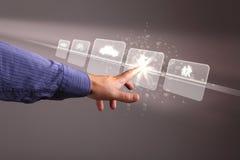 Pantalla táctil de la mano con los botones en ella imagen de archivo libre de regalías