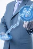 Pantalla táctil de la mano del hombre de negocios Imagenes de archivo