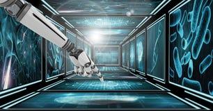 pantalla táctil del brazo del robot 3D en el pasillo 3D Foto de archivo libre de regalías