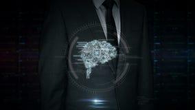 Pantalla táctil del hombre de negocios con el holograma cibernético del símbolo del cerebro almacen de metraje de vídeo
