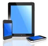 Pantalla táctil moderna - marque en la tableta la PC y el teléfono Foto de archivo libre de regalías