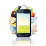 Smartphone, rodeado por los iconos de Apps de los medios. Vector Foto de archivo libre de regalías