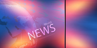 Pantalla transparente colorida plana con el concepto S del texto de las noticias de mundo Imagen de archivo