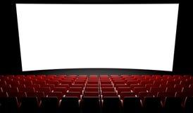Pantalla vacía del cine con el auditorio Fotos de archivo