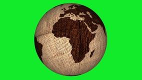 Pantalla verde giratoria de la tierra de la arpillera almacen de metraje de vídeo
