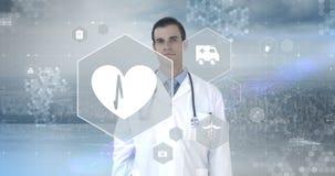Pantalla virtual conmovedora del interfaz digital del doctor almacen de metraje de vídeo