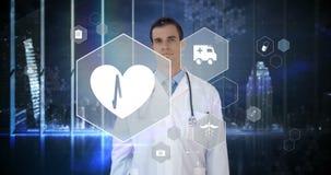 Pantalla virtual conmovedora del interfaz digital del doctor almacen de video