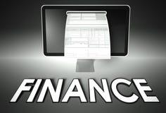Pantalla y factura con las finanzas, impuesto fotos de archivo libres de regalías