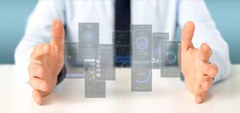Pantallas de la interfaz de usuario de la tenencia del hombre de negocios con la representación del icono, del stats y de los dat imagen de archivo