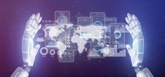 Pantallas de la interfaz de usuario de la tenencia de la mano del Cyborg con la representación del icono, del stats y de los dato imagenes de archivo