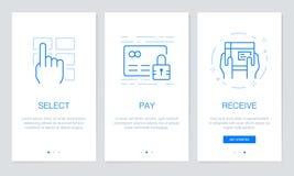 Pantallas de Onboarding app en concepto en línea que hace compras El recorrido moderno y simplificado del ejemplo del vector defi ilustración del vector
