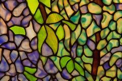 Pantallas del vidrio manchado con adorno de la planta Fotografía de archivo