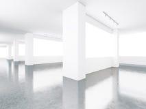 Pantallas en blanco en interior del museo 3d rinden Fotos de archivo libres de regalías