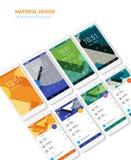 Pantallas materiales de UI con el equipo de las maquetas del smartphon 3d Imágenes de archivo libres de regalías