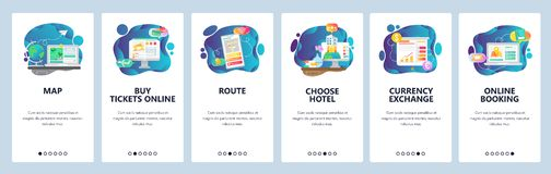 Pantallas onboarding del app móvil Servicios del viaje, viaje de cepillado de las vacaciones, hotel de reservación en línea y vue stock de ilustración
