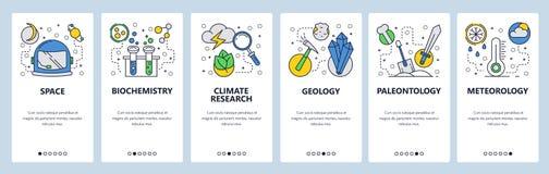 Pantallas onboarding del sitio web Ciencia y exploración espacial Química, tiempo, geología, meteorología Bandera del vector del  stock de ilustración