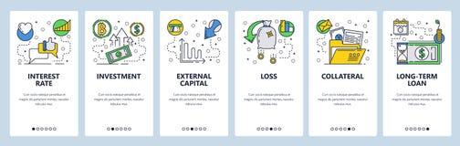 Pantallas onboarding del sitio web Finanzas, actividades bancarias, inversión, flujo de dinero Plantilla de la bandera del vector stock de ilustración