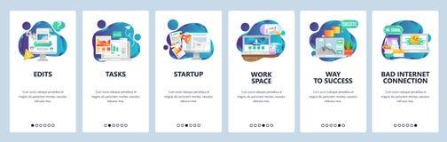 Pantallas onboarding del sitio web Gestión de negocio y desarrollo de programas Plantilla de la bandera del vector del menú para  libre illustration