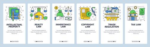 Pantallas onboarding del sitio web Iconos de la ley, derechos reservados, propiedad intelectual, comercio, impuestos y ley financ stock de ilustración
