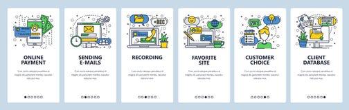 Pantallas onboarding del sitio web Pagos en línea, enviando correos electrónicos y el mensaje Grabación de la voz y charla de la  libre illustration