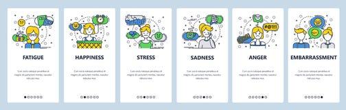 Pantallas onboarding del sitio web Sensaciones y emociones humanas Plantilla de la bandera del vector del menú para la página web libre illustration
