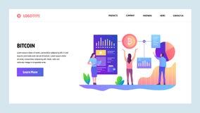 Pantallas onboarding del sitio web Tecnología de Blockchain y moneda crypto del bitcoin Plantilla de la bandera del vector del me ilustración del vector