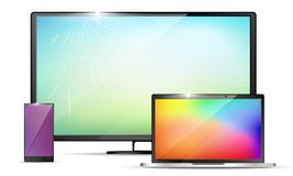 pantallas quebradas realistas 3d - smartphone o tableta, aparato de TV o exhibición del lsd, cuaderno con las grietas sobre el vi libre illustration