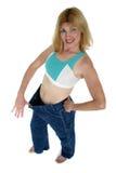 Pantalon de perte de poids trop grand - voyez 2 Photos libres de droits