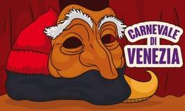 Pantalone szaty Wykonywać scenę w Wenecja Karnawałowym świętowaniu, Wektorowa ilustracja royalty ilustracja