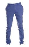 Pantalones azules de los tipos de tela de algodón aislados en el blanco, estilo de la moda del fantasma de la fotografía, azul Fotografía de archivo libre de regalías