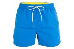 Pantalones cortos azules de los hombres para nadar Fotografía de archivo libre de regalías