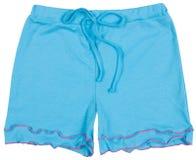 Pantalones cortos azules elegantes aislados en blanco Imagen de archivo