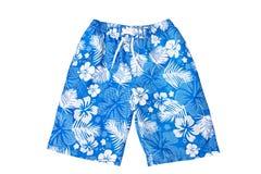 Pantalones cortos coloreados con la impresión aislada en el fondo blanco Imagen de archivo libre de regalías