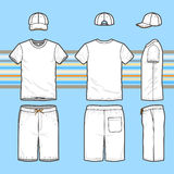 Pantalones cortos de la camiseta, del casquillo y de la nadada de los hombres fijados Imágenes de archivo libres de regalías