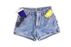 Pantalones cortos de la mezclilla de la moda para las mujeres foto de archivo libre de regalías