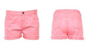 Pantalones cortos de los vaqueros de las mujeres. Frente. Parte posterior. Foto de archivo libre de regalías