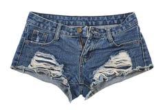 Pantalones cortos llevados viejos de la mezclilla fotos de archivo libres de regalías