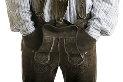Pantalones de cuero bávaros de Oktoberfest (Lederhose) Foto de archivo libre de regalías