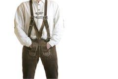 Pantalones de cuero bávaros de Oktoberfest (Lederhose) Foto de archivo