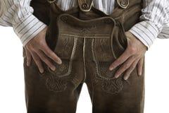 Pantalones de cuero originales de Oktoberfest (Lederhose) Imagen de archivo libre de regalías