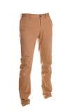 Pantalones de los tipos de tela de algodón aislados en el blanco, estilo de la moda del fantasma de la fotografía, bei imagen de archivo