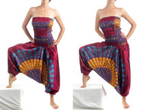 Pantalones multicolores del harén con el modelo indio Imagen de archivo libre de regalías