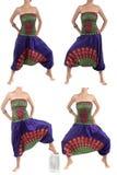 Pantalones multicolores del harén con el modelo indio fotografía de archivo libre de regalías